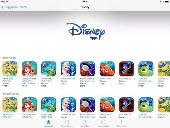 Disney's 'shop window' on the App Store.
