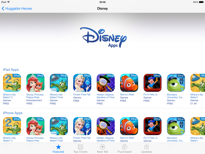 Disney's 'shop window' on the App Store.